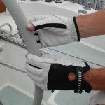 Leather sailing wheel cover and gloves